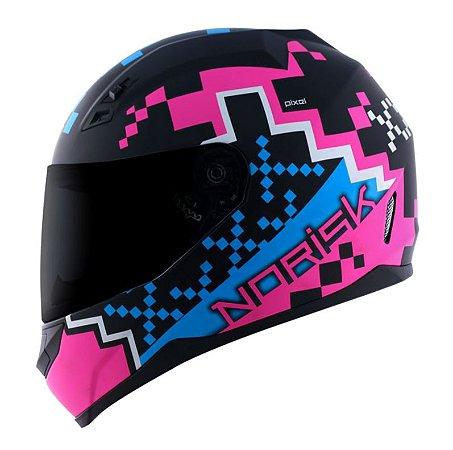 Capacete Norisk FF391 Stunt Pixel Preto Fosco/Rosa/Azul
