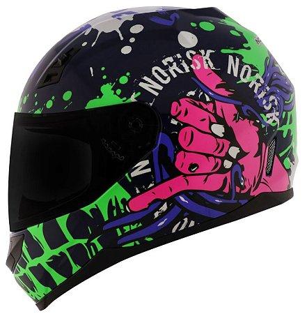 Capacete Norisk FF391 Stunt Zombie Azul/Verde/Rosa