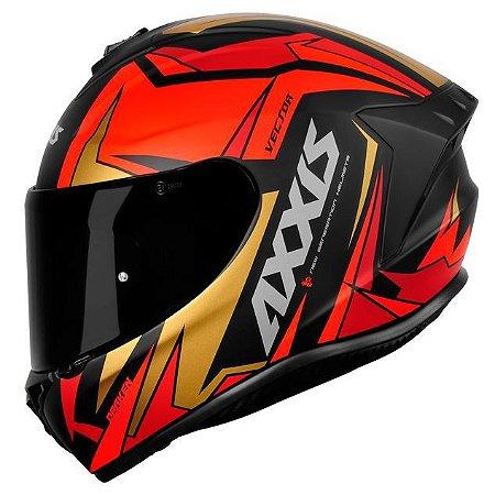 Capacete Axxis Draken Vector Preto/Vermelho/Dourado