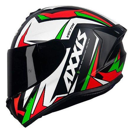 Capacete Axxis Draken Vector Preto/Branco/Verde