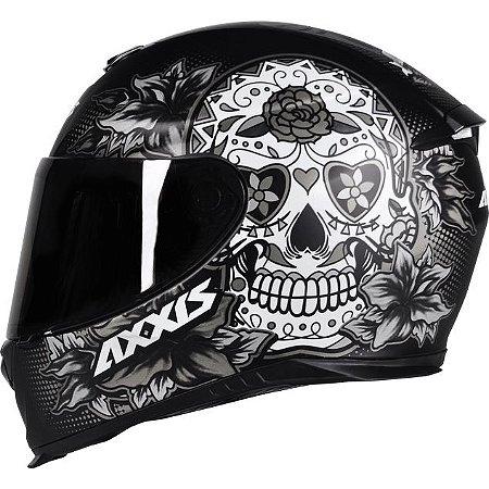 Capacete Axxis Eagle Skull Preto Fosco