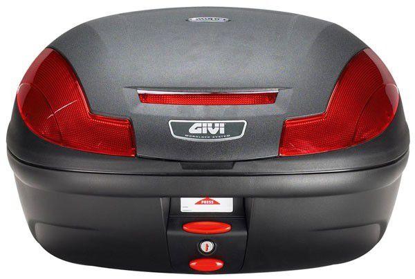 Baú Traseiro Top Case GIVI (E470N) Monolock Preto com Lente Vermelho 47L
