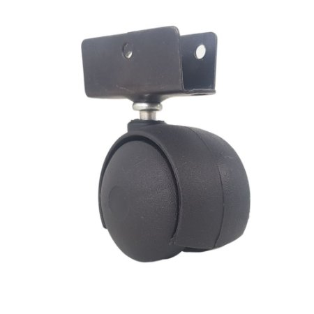 Rodizio de Nylon 42 mm Preto com Chapa U 20 mm