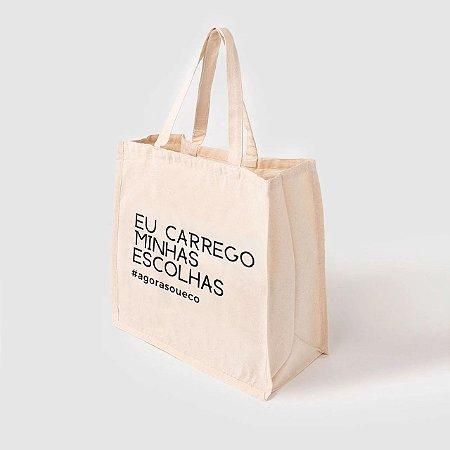 Sacola Ecobag grande 100% algodão cru - Eu Carrego Minhas Escolhas