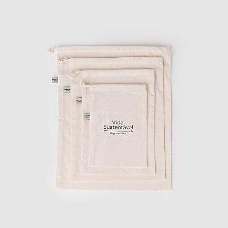 Kit com 2 sacos de pano para compras a granel - 2 sacos M