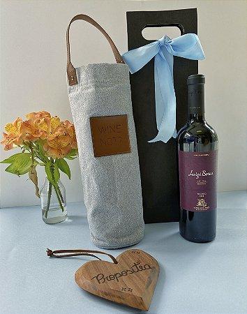 Kit Porta vinho térmico + vinho - cinza
