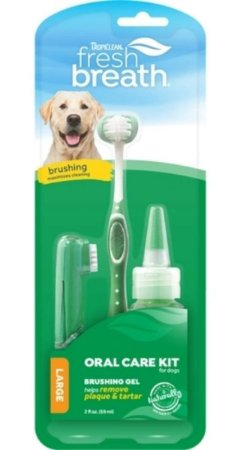 Kit Tropiclean Fresh Breath Brushing Gel 59ml Raças Grandes