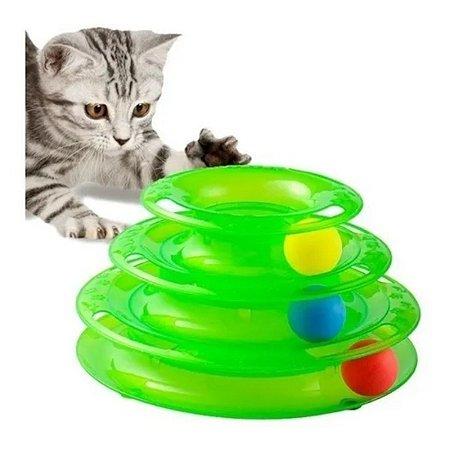 brinquedo interativo pet torre de trilhos para gato c/ bolas