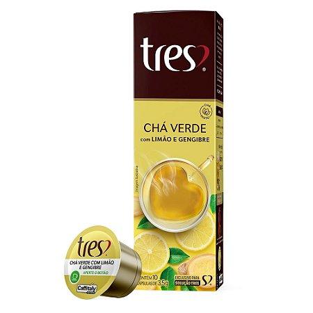 Kit 10 Cápsulas Chá Verde com Limão e Gengibre Três Corações