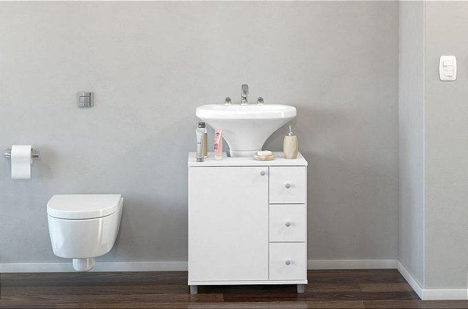 Balcão Banheiro 03 gavetas - Branco