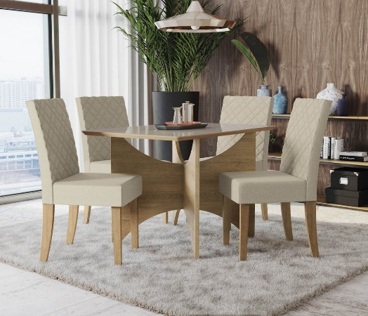 Conjunto de Mesa Camomila 4 Cadeiras A019 - Kappesberg