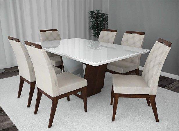Conjunto de Mesa Carrara 06 cadeiras Valência
