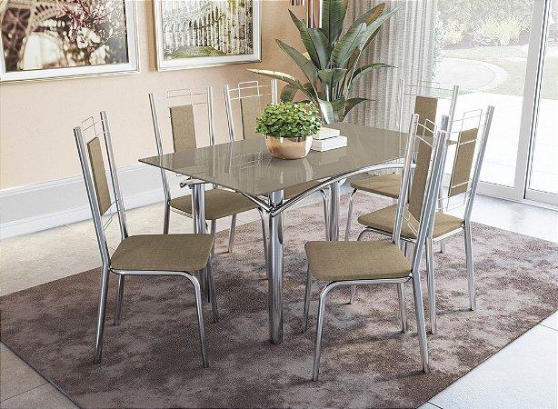 Conjunto de Mesa Elba 06 Cadeiras Florença - CR31V4