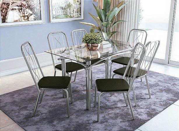 Conjunto de Mesa Elba 06 Cadeiras Viena - CR21
