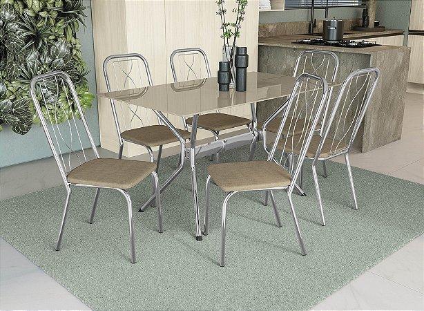 Conjunto de Mesa Loire 06 Cadeiras Viena - CR31