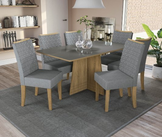 Conjunto de Mesa Lótus 6 Cadeiras A018 - Kappesberg