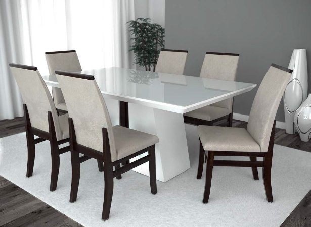 Conjunto de Mesa Madri 06 Cadeiras Veneza