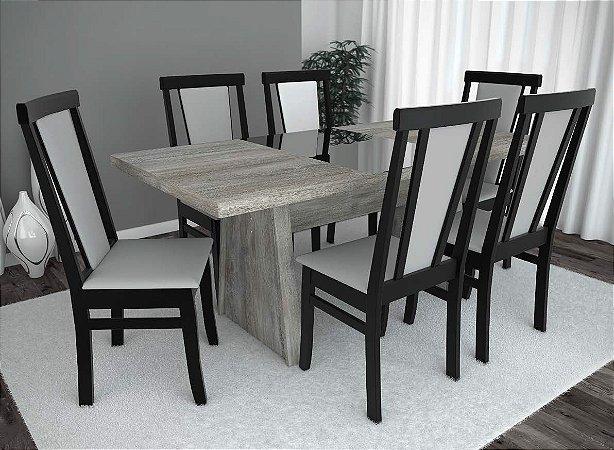Conjunto de Mesa Pescara 06 Cadeiras Madri