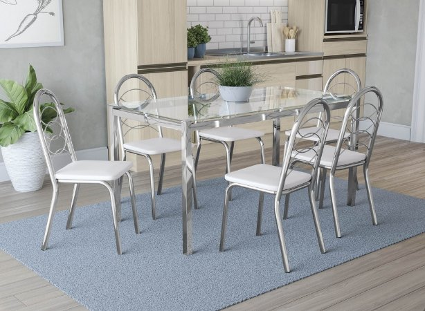Conjunto de Mesa Reno 06 Cadeiras Holanda - CR106