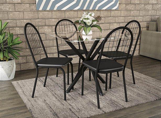 Conjunto de Mesa Volga 04 Cadeiras Noruega PR110