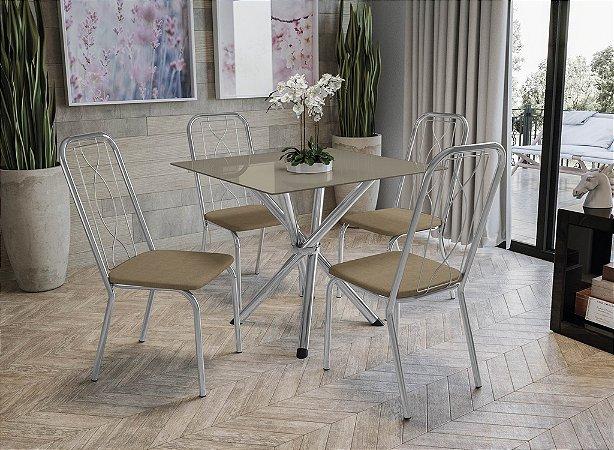 Conjunto de Mesa Volga 04 Cadeiras Viena - CR31
