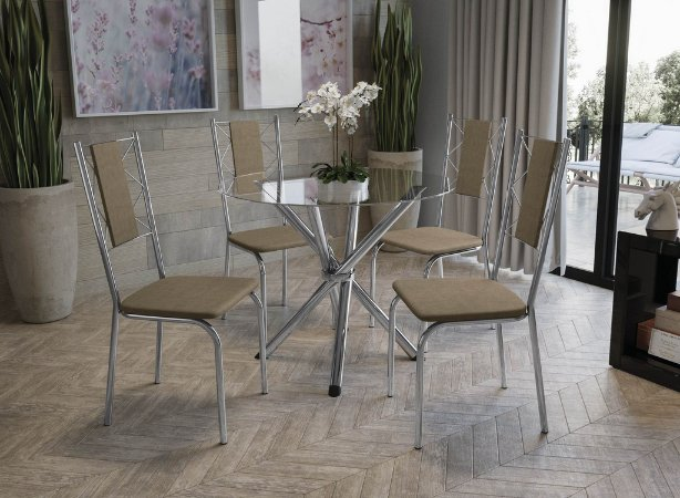Conjunto de Mesa Volga Redondo 04 Cadeiras Lisboa - CR31