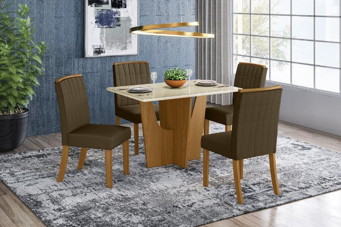 Conjunto Mesa Vértice 4 Cadeiras