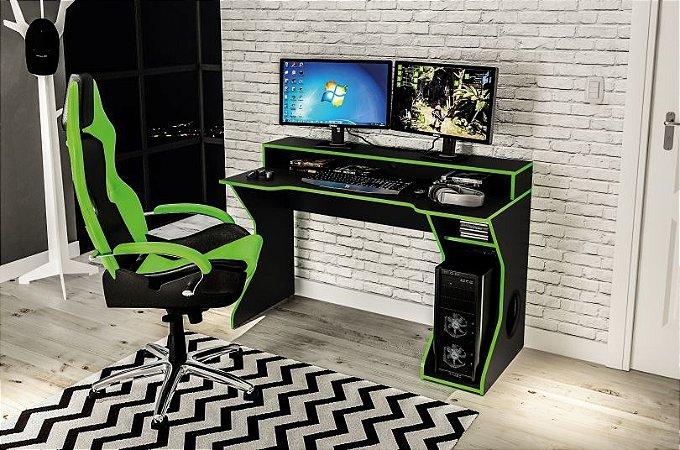 Escrivaninha Gamer Fremont - Preto / Verde