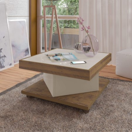 Mesa de Centro Saara Cor Pinho com Off White