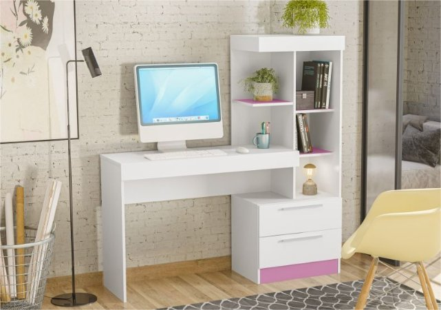 Mesa Office NT2010 Branco/Rosa
