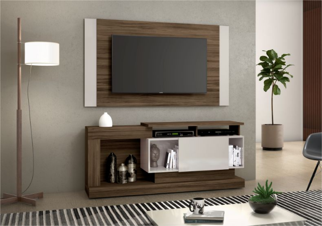 Rack e Painel NT1065 Cor: Nogal Trend / Off White