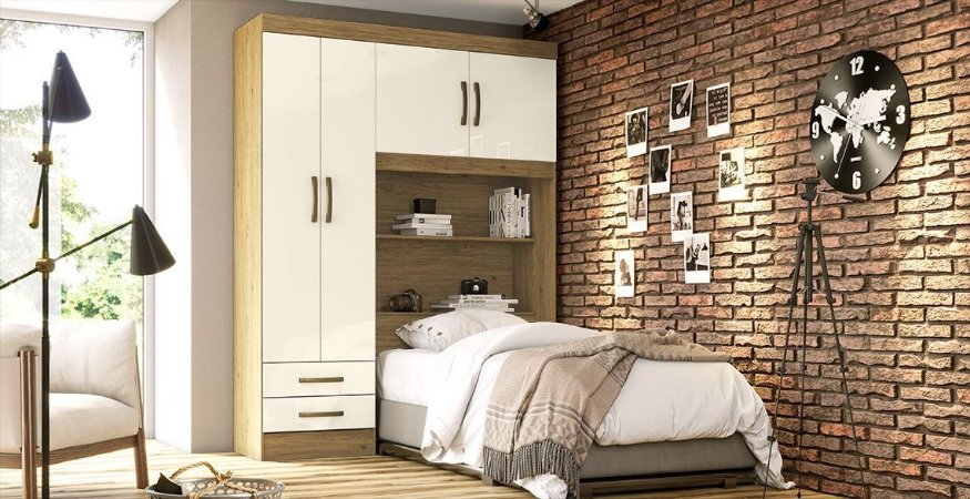 Roupeiro B77 04 Portas - Rústico / Off white
