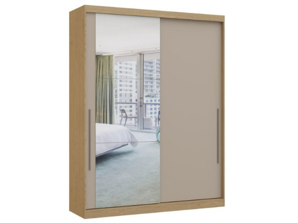 Guarda Roupa 2 Portas de Correr Premium Elegance 4222A - Angelin / Níquel com espelho