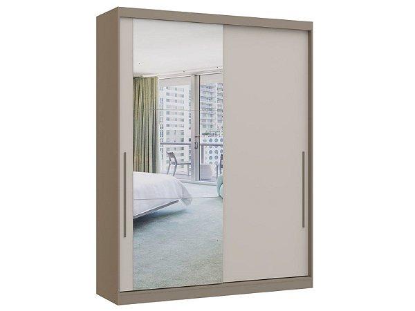 Guarda Roupa 2 Portas de Correr Premium Elegance 4222A - Níquel / Blanc com espelho
