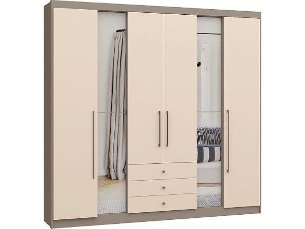 Guarda Roupa 6 Portas Evidenza 3482A - Níquel / Blanc com espelho