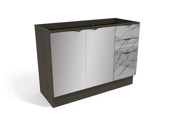Balcão de Pia 2 Portas 3 Gavetas com vidro 120cm Ref. H767 TV6 - Nox - Kappesberg