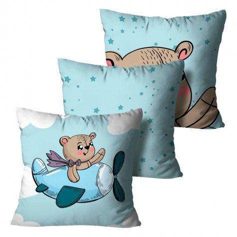 Kit com 3 Almofadas Urso - Infantil