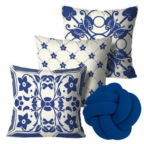 Kit com 3 Capas para Almofadas Portuguesa + Almofada Nó (Azul Royal)
