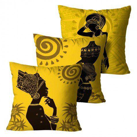 Kit com 3 Capas para Almofadas Africana - Amarela