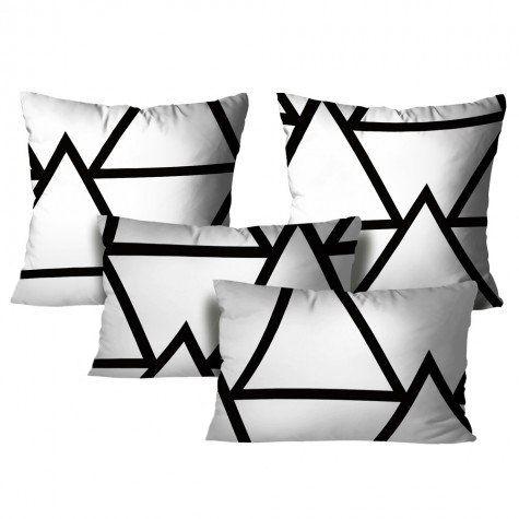 Kit com 4 Almofadas Abstrata – Branco e Preto