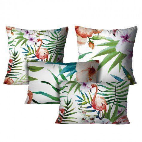 Kit com 4 Almofadas Flamingo – Color