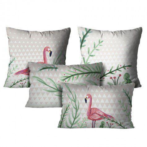 Kit com 4 Almofadas Flamingo – Branco