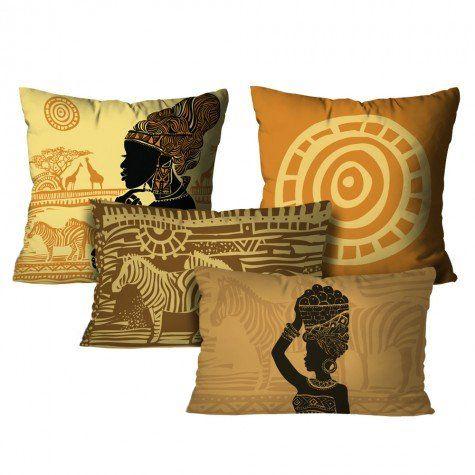 Kit com 4 Almofadas Africanas – Color