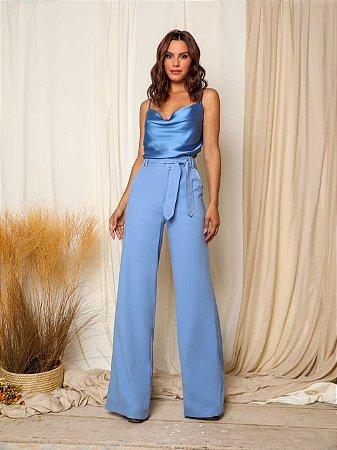Calça Pantalona Nathalia Azul