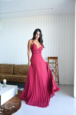 Vestido Longo Valentina Marsala