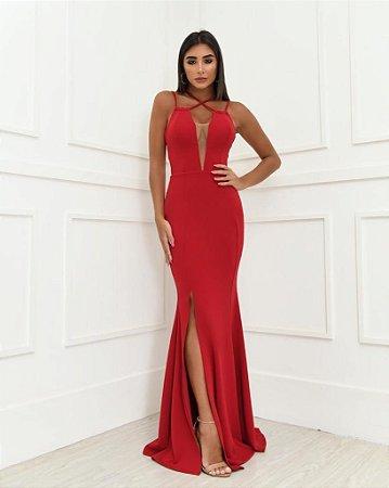 Vestido Longo Lenzi Vermelho
