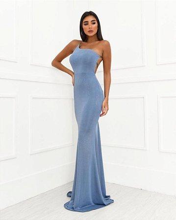 Vestido Longo Shine Azul