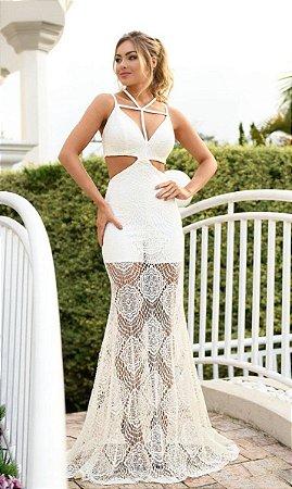 Vestido Longo Vazado Branco