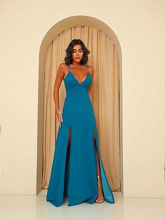 Vestido Longo Ibiza Azul Petróleo