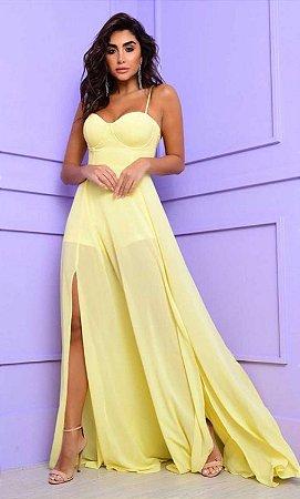 Vestido Longo Lígia Amarelo